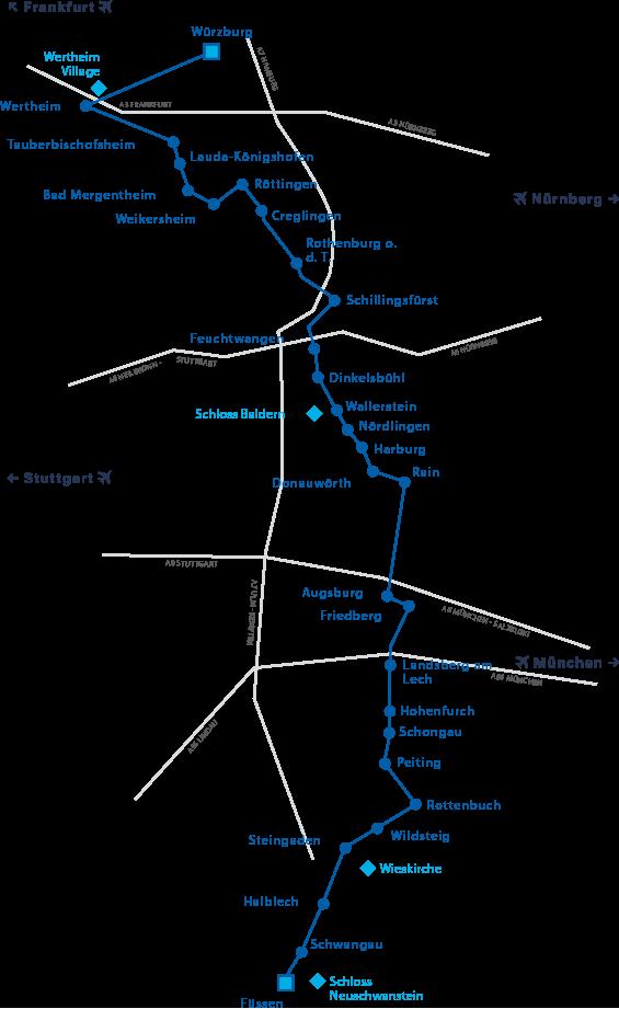 Romantische Straße Karte.Romantische Straße Stadt Lauda Königshofen